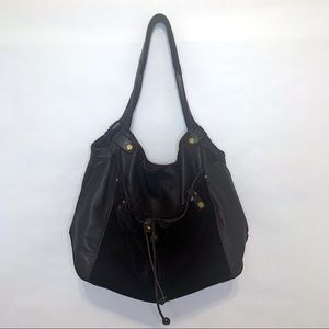 Lucky Brand Black Suede Leather Hobo Bag Purse